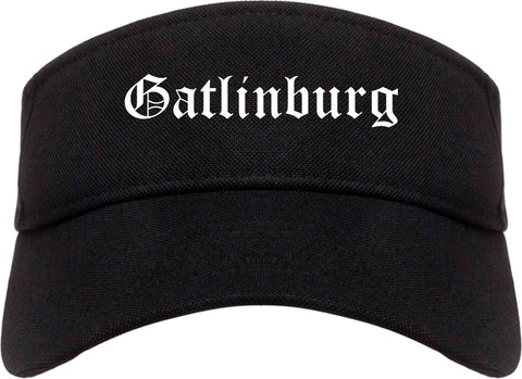 Gatlinburg Tennessee TN Old English Mens Visor Cap Hat Black