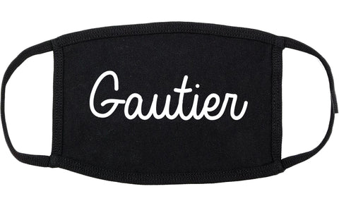 Gautier Mississippi MS Script Cotton Face Mask Black