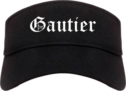 Gautier Mississippi MS Old English Mens Visor Cap Hat Black