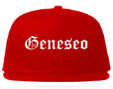 Geneseo New York NY Old English Mens Snapback Hat Red