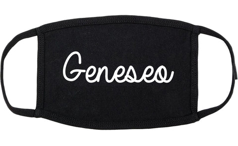 Geneseo New York NY Script Cotton Face Mask Black