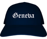 Geneva Illinois IL Old English Mens Trucker Hat Cap Navy Blue