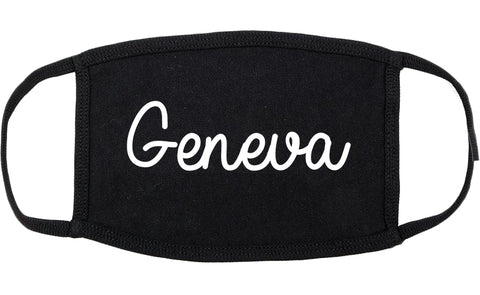 Geneva Illinois IL Script Cotton Face Mask Black