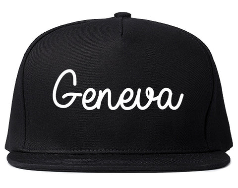 Geneva Illinois IL Script Mens Snapback Hat Black