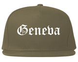 Geneva Ohio OH Old English Mens Snapback Hat Grey