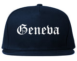 Geneva Ohio OH Old English Mens Snapback Hat Navy Blue