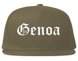 Genoa Illinois IL Old English Mens Snapback Hat Grey