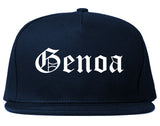 Genoa Illinois IL Old English Mens Snapback Hat Navy Blue