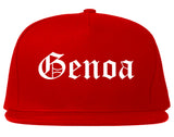 Genoa Illinois IL Old English Mens Snapback Hat Red