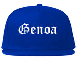Genoa Illinois IL Old English Mens Snapback Hat Royal Blue
