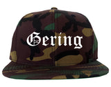 Gering Nebraska NE Old English Mens Snapback Hat Army Camo