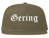 Gering Nebraska NE Old English Mens Snapback Hat Grey