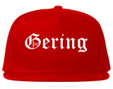 Gering Nebraska NE Old English Mens Snapback Hat Red