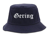 Gering Nebraska NE Old English Mens Bucket Hat Navy Blue
