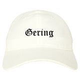 Gering Nebraska NE Old English Mens Dad Hat Baseball Cap White