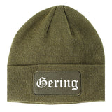 Gering Nebraska NE Old English Mens Knit Beanie Hat Cap Olive Green