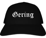 Gering Nebraska NE Old English Mens Trucker Hat Cap Black