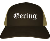 Gering Nebraska NE Old English Mens Trucker Hat Cap Brown