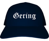 Gering Nebraska NE Old English Mens Trucker Hat Cap Navy Blue