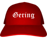 Gering Nebraska NE Old English Mens Trucker Hat Cap Red