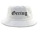 Gering Nebraska NE Old English Mens Bucket Hat White