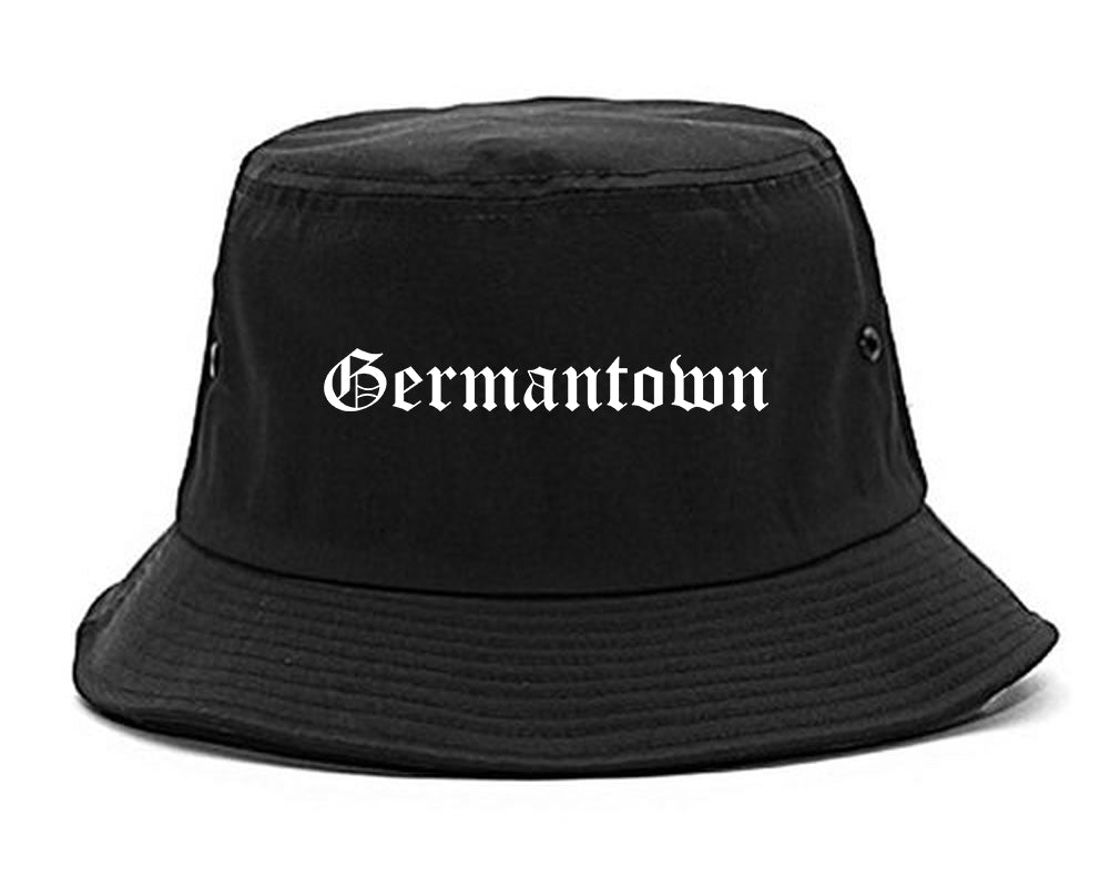 Germantown Wisconsin WI Old English Mens Bucket Hat Black
