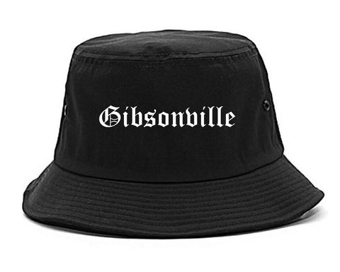 Gibsonville North Carolina NC Old English Mens Bucket Hat Black