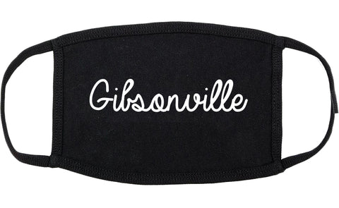 Gibsonville North Carolina NC Script Cotton Face Mask Black