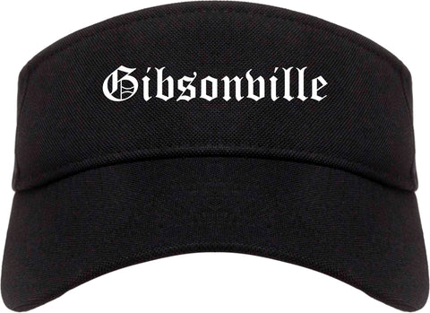 Gibsonville North Carolina NC Old English Mens Visor Cap Hat Black