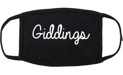 Giddings Texas TX Script Cotton Face Mask Black