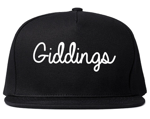 Giddings Texas TX Script Mens Snapback Hat Black