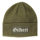 Gilbert Arizona AZ Old English Mens Knit Beanie Hat Cap Olive Green