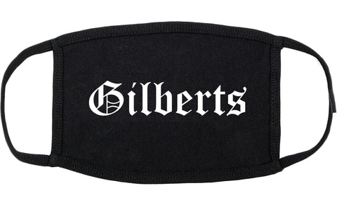 Gilberts Illinois IL Old English Cotton Face Mask Black