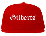 Gilberts Illinois IL Old English Mens Snapback Hat Red