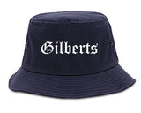 Gilberts Illinois IL Old English Mens Bucket Hat Navy Blue