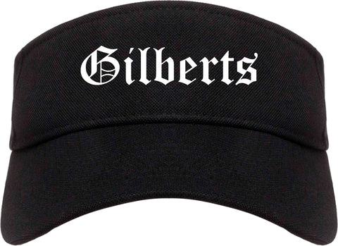 Gilberts Illinois IL Old English Mens Visor Cap Hat Black