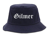 Gilmer Texas TX Old English Mens Bucket Hat Navy Blue