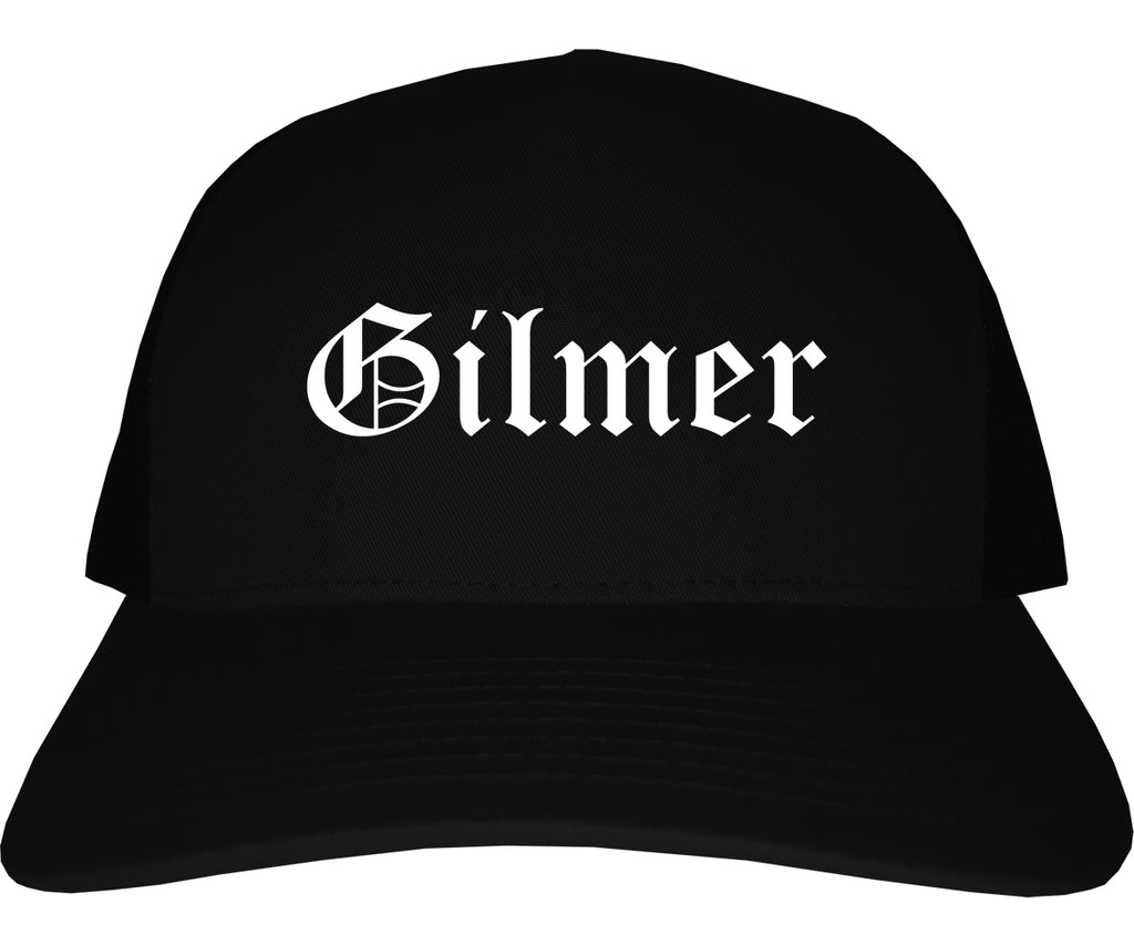 Gilmer Texas TX Old English Mens Trucker Hat Cap Black