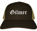 Gilmer Texas TX Old English Mens Trucker Hat Cap Brown