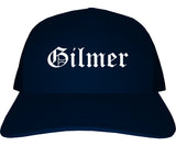 Gilmer Texas TX Old English Mens Trucker Hat Cap Navy Blue