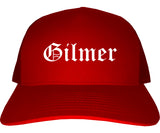 Gilmer Texas TX Old English Mens Trucker Hat Cap Red