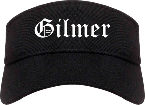 Gilmer Texas TX Old English Mens Visor Cap Hat Black