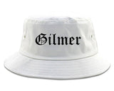Gilmer Texas TX Old English Mens Bucket Hat White