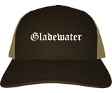 Gladewater Texas TX Old English Mens Trucker Hat Cap Brown