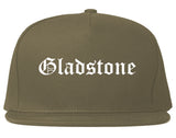 Gladstone Michigan MI Old English Mens Snapback Hat Grey