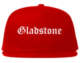 Gladstone Michigan MI Old English Mens Snapback Hat Red