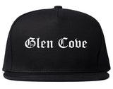 Glen Cove New York NY Old English Mens Snapback Hat Black