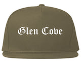 Glen Cove New York NY Old English Mens Snapback Hat Grey