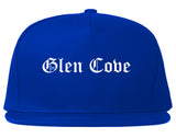 Glen Cove New York NY Old English Mens Snapback Hat Royal Blue
