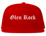 Glen Rock New Jersey NJ Old English Mens Snapback Hat Red